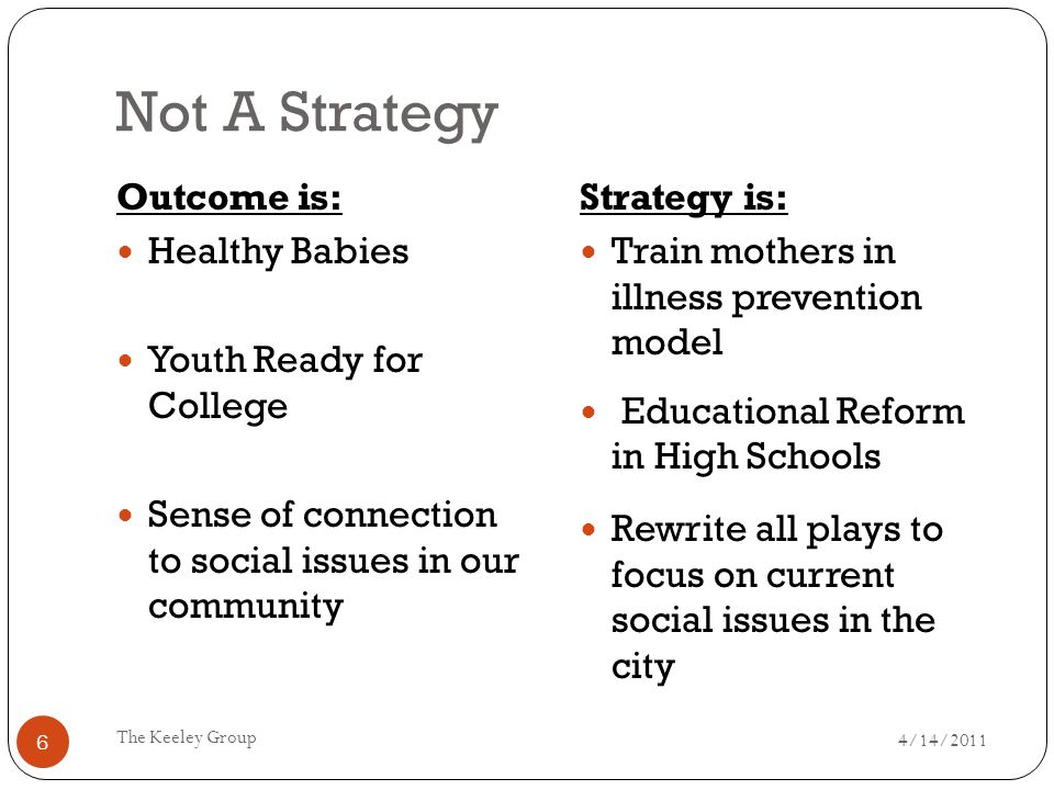 Not A Strategy 4/14/2011 The Keeley Group 6 Outcome is: Healthy Babies Youth Ready for College Sense of connection to social issues in our community Strategy is: Train mothers in illness prevention model Educational Reform in High Schools Rewrite all plays to focus on current social issues in the city