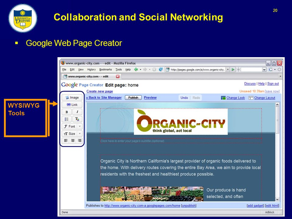 20 Collaboration and Social Networking  Google Web Page Creator WYSIWYG Tools