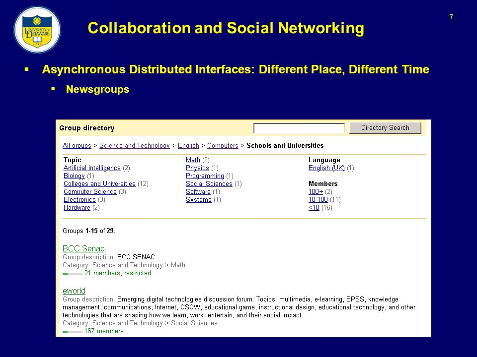 7 Collaboration and Social Networking  Asynchronous Distributed Interfaces: Different Place, Different Time  Newsgroups