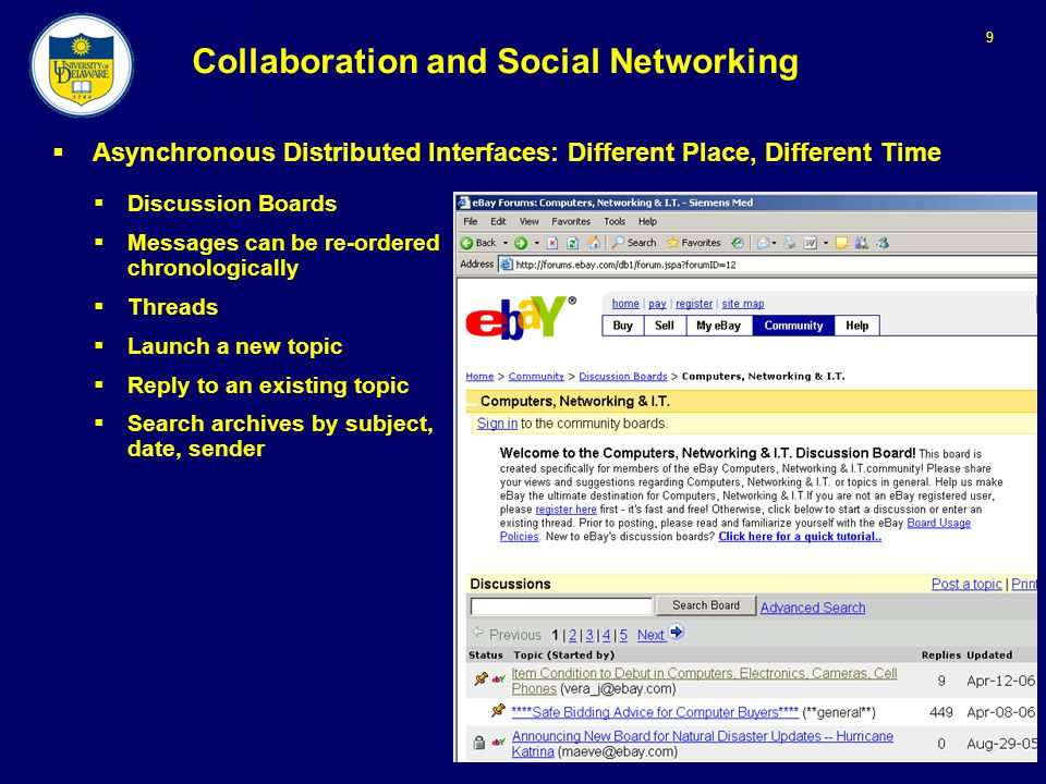 9 Collaboration and Social Networking  Asynchronous Distributed Interfaces: Different Place, Different Time  Discussion Boards  Messages can be re-