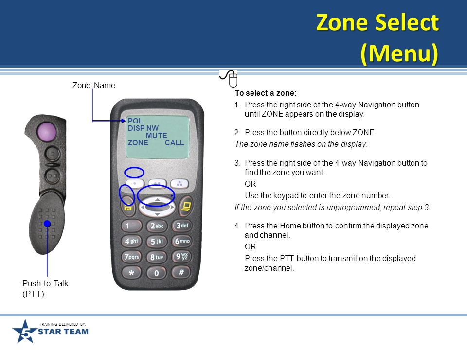 TRAINING DELIVERED BY: Zone Select (3-Position Toggle Switch) To select a zone: 1.Toggle the Zone Select switch to select the desired zone.