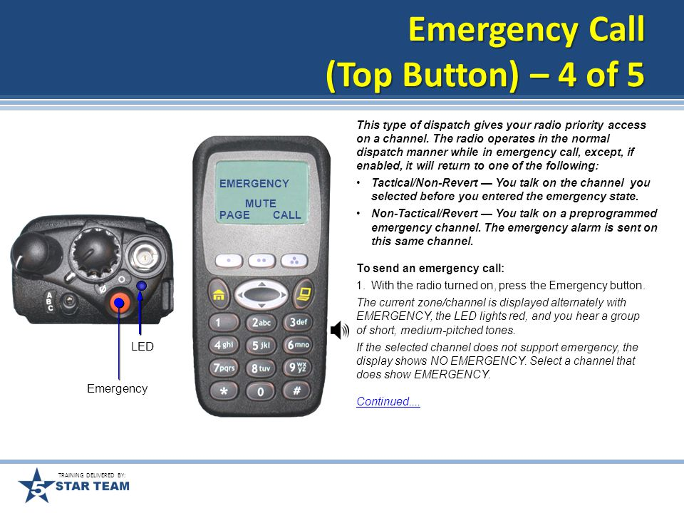TRAINING DELIVERED BY: Emergency Alarm (Silent) (Top Button) – 3 of 5 POL DISP NW To send a silent emergency alarm: 1.With the radio turned on, press the Emergency button.