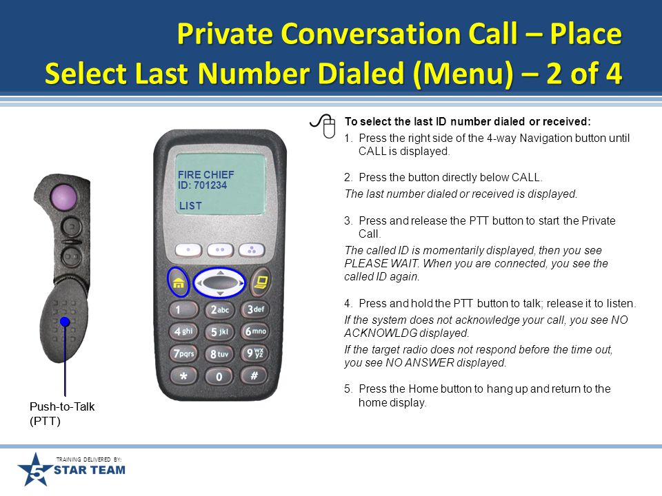 TRAINING DELIVERED BY: There are three ways to place a Private Conversation call from your radio.