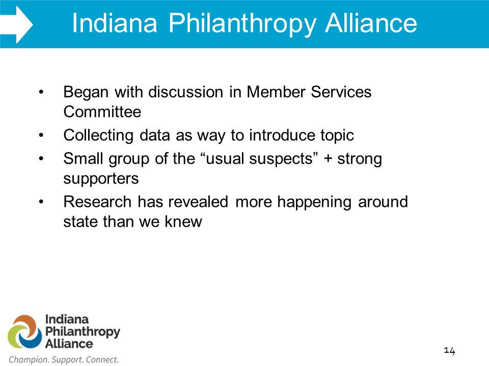 WHAT WE DO Indiana Philanthropy Alliance 14 Began with discussion in Member Services Committee Collecting data as way to introduce topic Small group of the usual suspects + strong supporters Research has revealed more happening around state than we knew