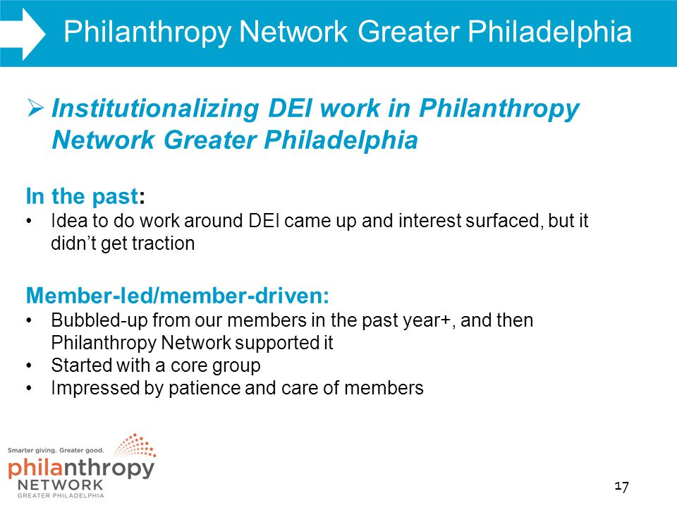 WHAT WE DO Philanthropy Network Greater Philadelphia 17 Report Findings  Institutionalizing DEI work in Philanthropy Network Greater Philadelphia In the past: Idea to do work around DEI came up and interest surfaced, but it didn't get traction Member-led/member-driven: Bubbled-up from our members in the past year+, and then Philanthropy Network supported it Started with a core group Impressed by patience and care of members