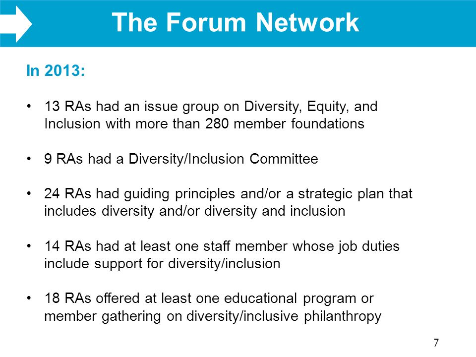 WHAT WE DO The Forum Network 7 In 2013: 13 RAs had an issue group on Diversity, Equity, and Inclusion with more than 280 member foundations 9 RAs had a Diversity/Inclusion Committee 24 RAs had guiding principles and/or a strategic plan that includes diversity and/or diversity and inclusion 14 RAs had at least one staff member whose job duties include support for diversity/inclusion 18 RAs offered at least one educational program or member gathering on diversity/inclusive philanthropy