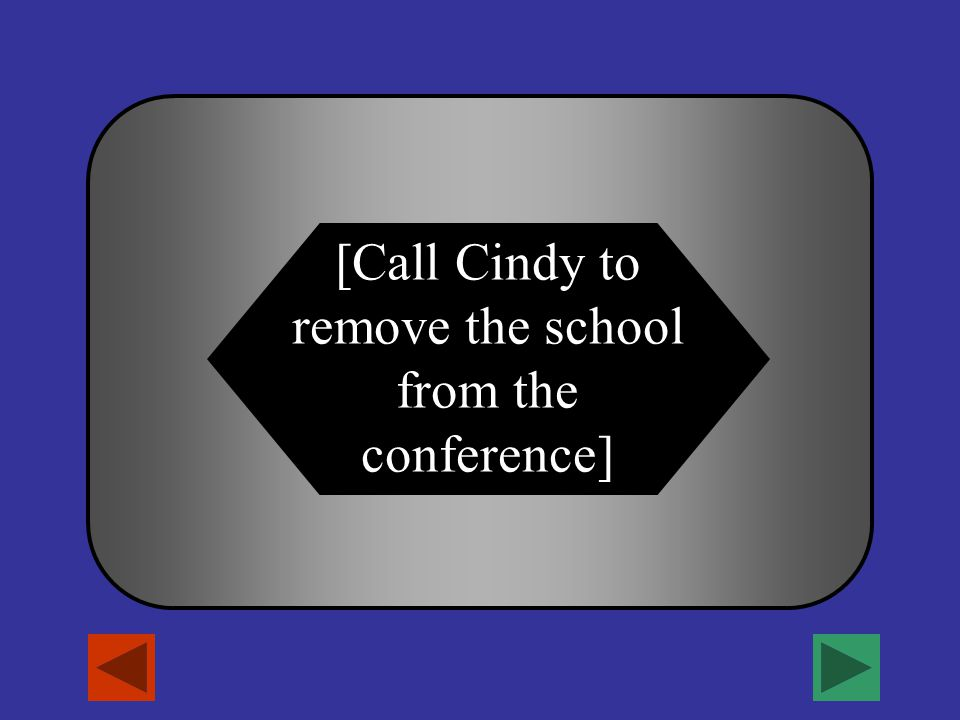 [How do I disconnect (i.e. if students are gone)?] A B C D Tequilla Sunrise Good Mystery Novel iPod and earbuds! Call Cindy to remove the school from