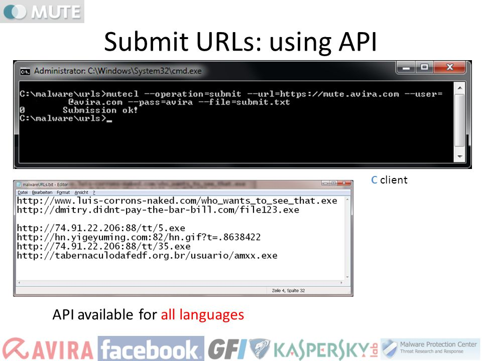 C client API available for all languages Submit URLs: using API