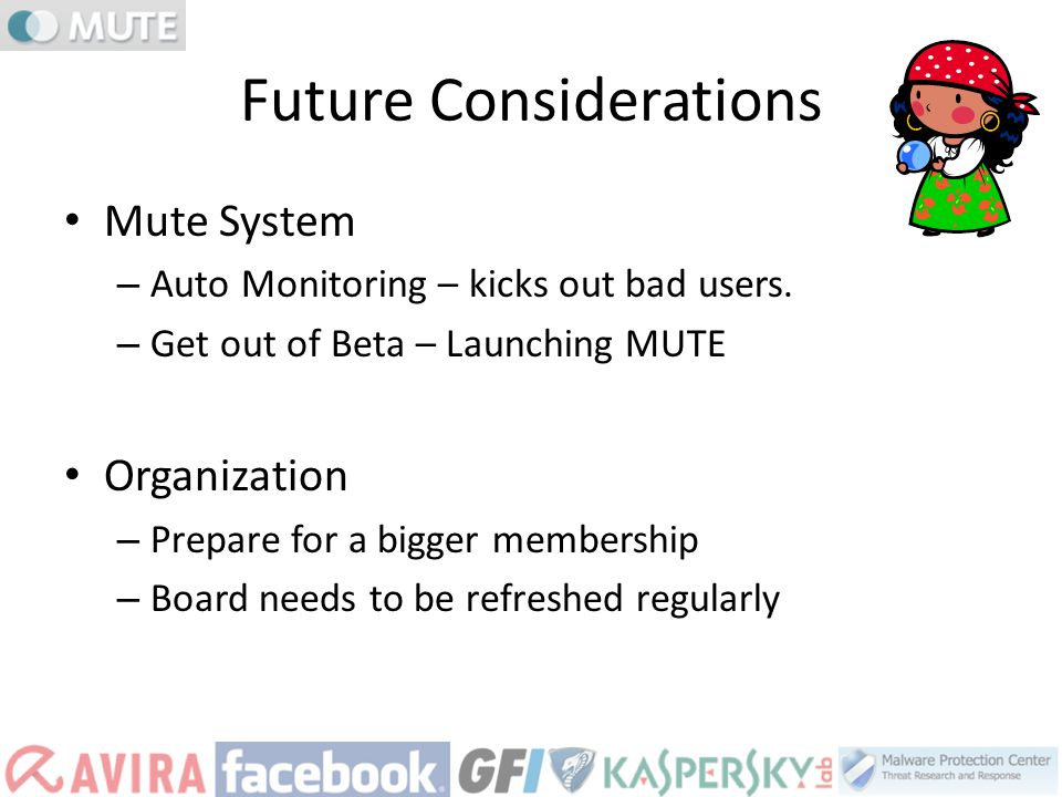 Future Considerations Mute System – Auto Monitoring – kicks out bad users. – Get out of Beta – Launching MUTE Organization – Prepare for a bigger memb