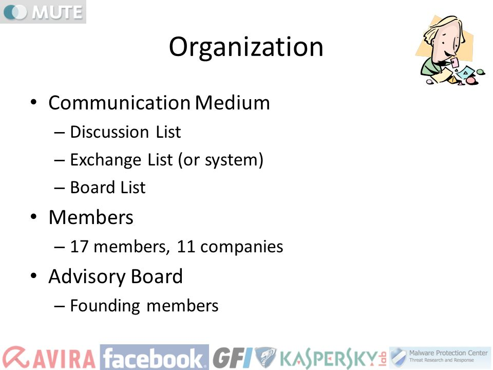 Organization Communication Medium – Discussion List – Exchange List (or system) – Board List Members – 17 members, 11 companies Advisory Board – Found