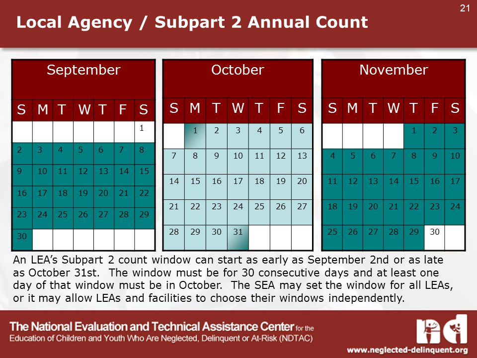 21 Local Agency / Subpart 2 Annual Count September SMTWTFS 1 2345678 9101112131415 16171819202122 23242526272829 30 October SMTWTFS 123456 78910111213 14151617181920 21222324252627 28293031 November SMTWTFS 123 45678910 11121314151617 18192021222324 252627282930 An LEA's Subpart 2 count window can start as early as September 2nd or as late as October 31st.