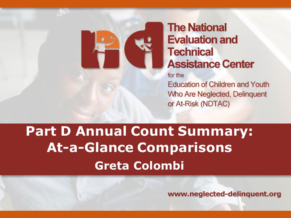 Part D Annual Count Summary: At-a-Glance Comparisons Greta Colombi