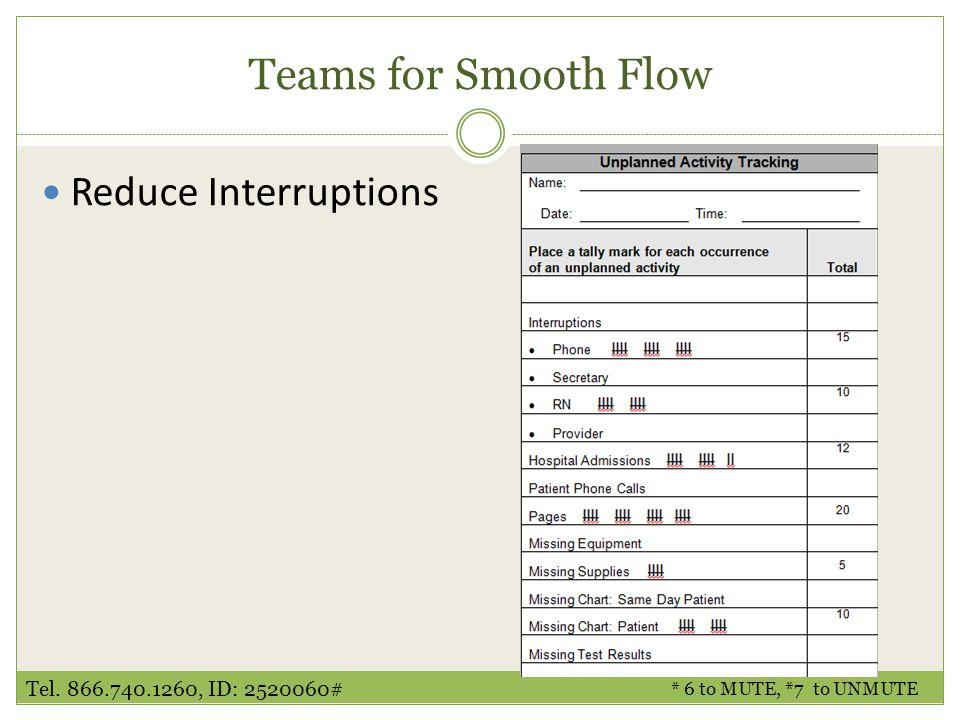 Teams for Smooth Flow Reduce Interruptions * 6 to MUTE, *7 to UNMUTE Tel. 866.740.1260, ID: 2520060#