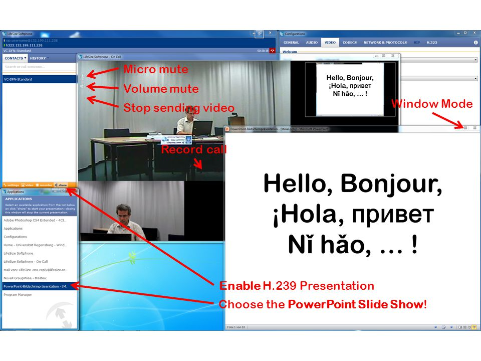 Record call Stop sending video Volume mute Micro mute Enable H.239 Presentation Choose the PowerPoint Slide Show.