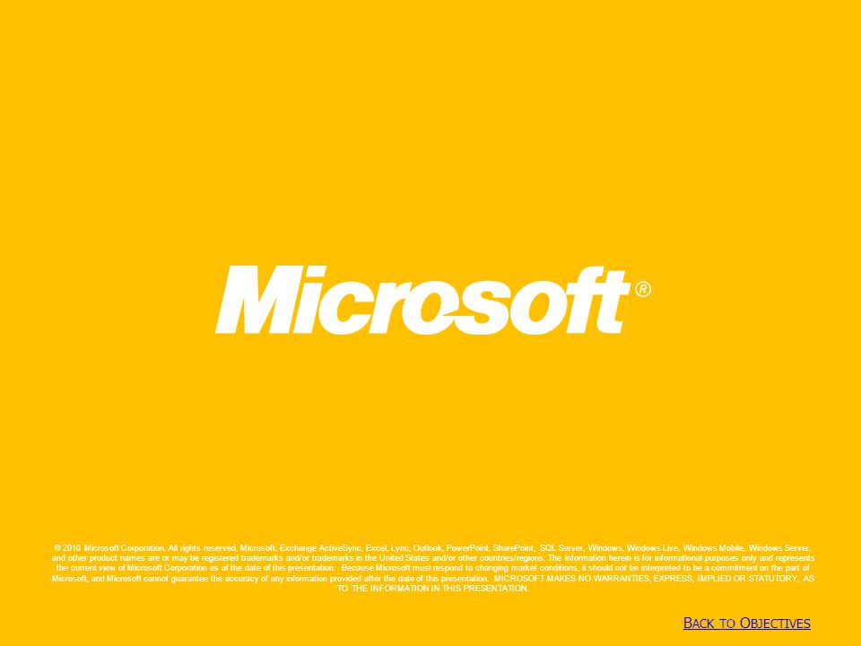 Copyright© 2010 Microsoft Corporation B ACK TO O BJECTIVES B ACK TO O BJECTIVES © 2010 Microsoft Corporation. All rights reserved. Microsoft, Exchange