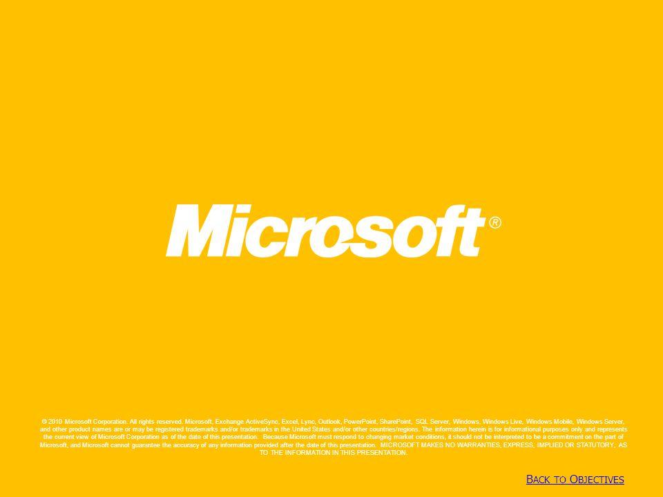 Copyright© 2010 Microsoft Corporation B ACK TO O BJECTIVES B ACK TO O BJECTIVES © 2010 Microsoft Corporation.