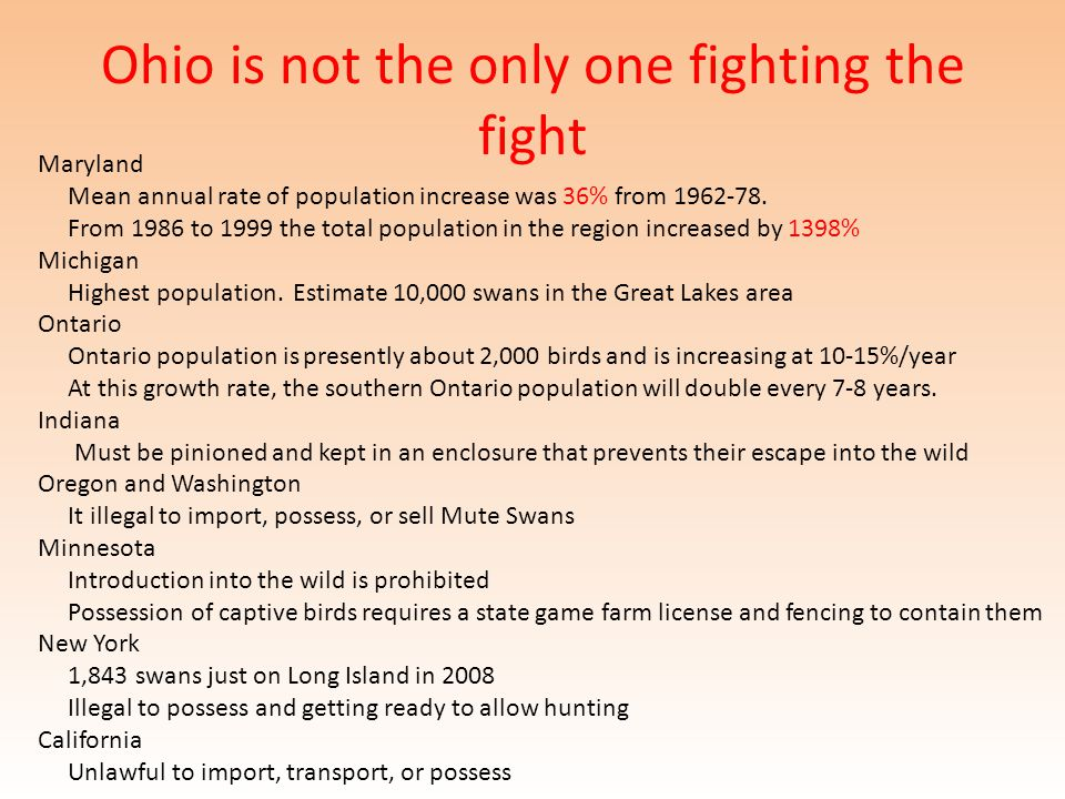 Ohio is not the only one fighting the fight Maryland Mean annual rate of population increase was 36% from 1962-78.