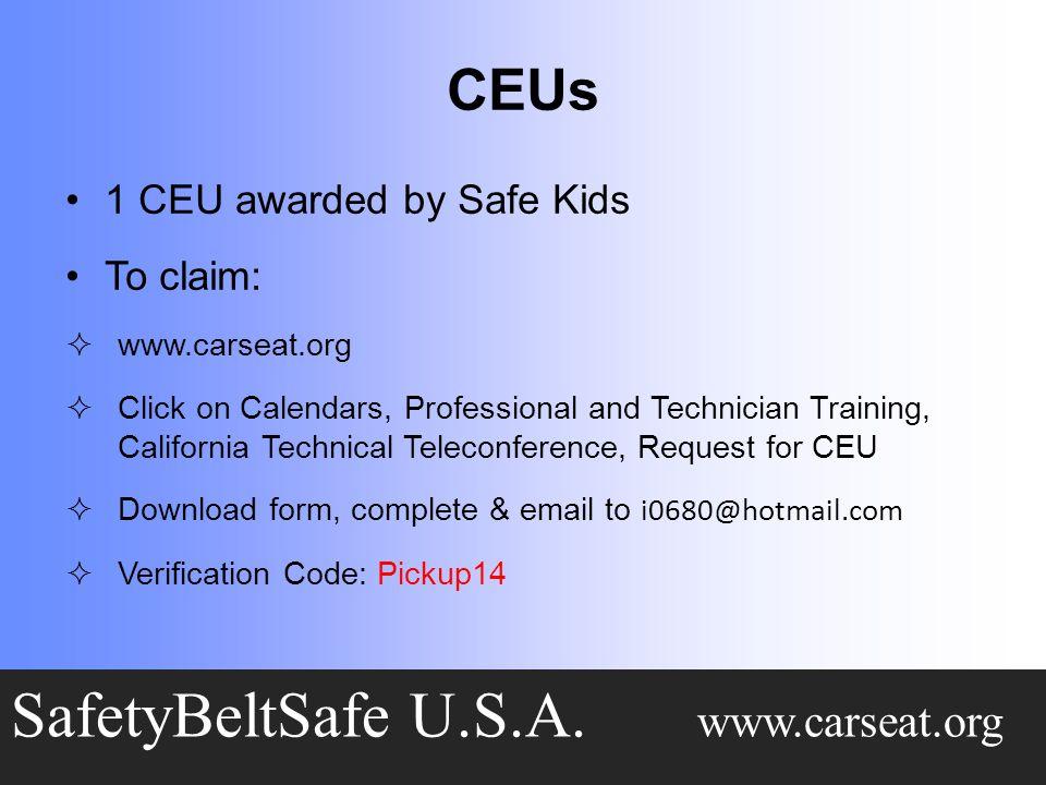 CEUs SafetyBeltSafe U.S.A.