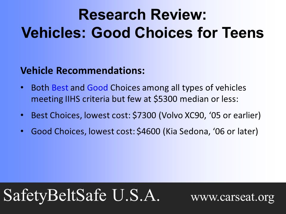 Research Review: Vehicles: Good Choices for Teens SafetyBeltSafe U.S.A.
