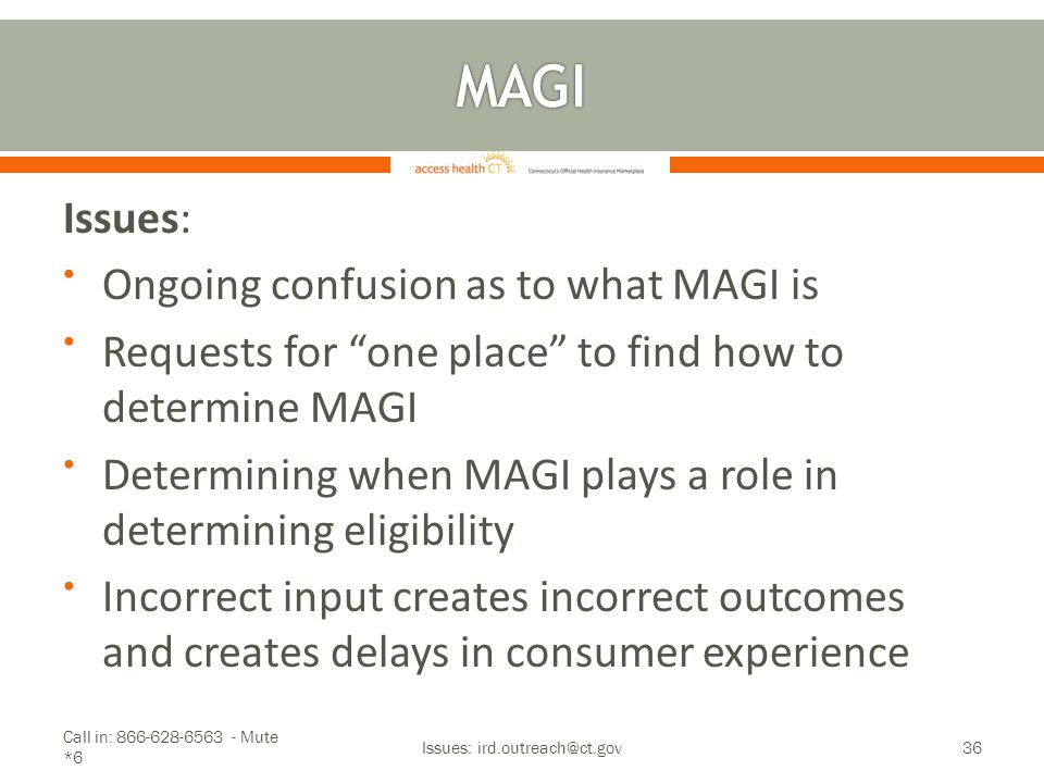 "Issues: Ongoing confusion as to what MAGI is Requests for ""one place"" to find how to determine MAGI Determining when MAGI plays a role in determining"