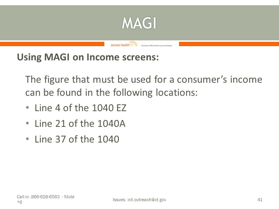 Using MAGI on Income screens: The figure that must be used for a consumer's income can be found in the following locations: Line 4 of the 1040 EZ Line