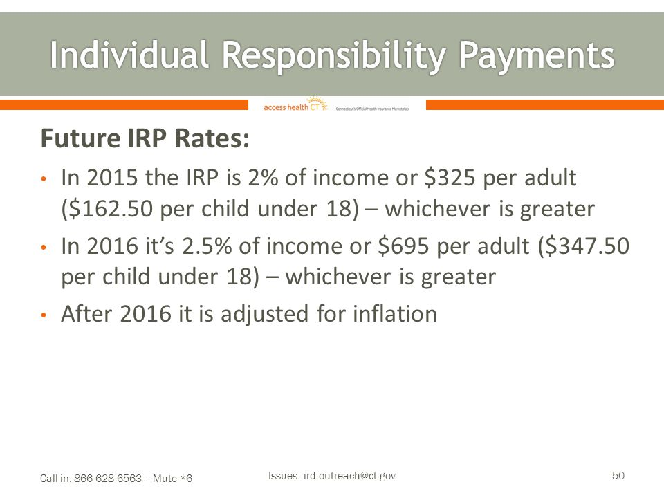 Future IRP Rates: In 2015 the IRP is 2% of income or $325 per adult ($162.50 per child under 18) – whichever is greater In 2016 it's 2.5% of income or