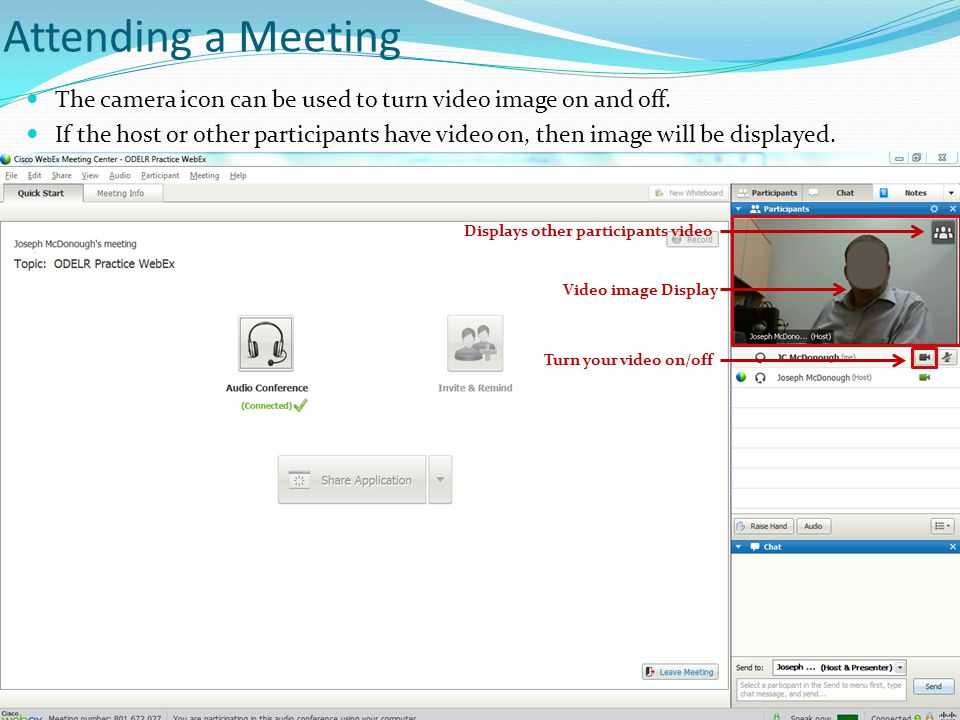 Attending a Meeting The camera icon can be used to turn video image on and off. If the host or other participants have video on, then image will be di