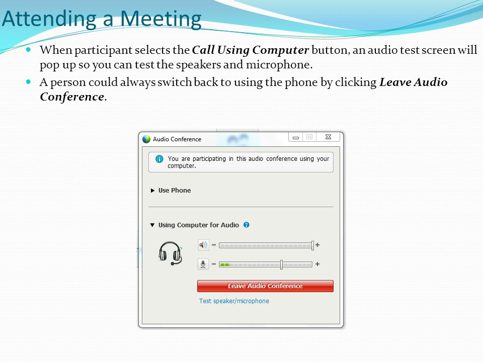 Attending a Meeting When participant selects the Call Using Computer button, an audio test screen will pop up so you can test the speakers and microphone.