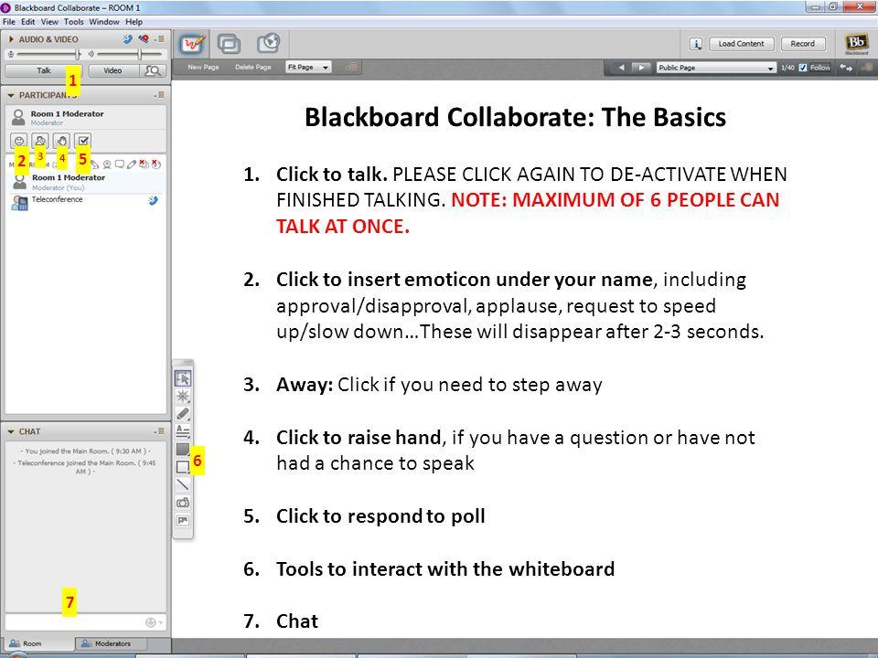Blackboard Collaborate: The Basics 1.Click to talk.