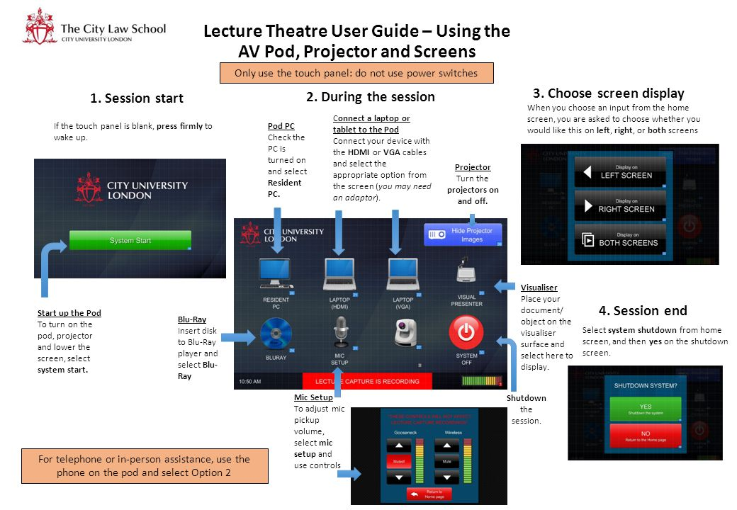 Lecture Theatre User Guide – Using the AV Pod, Projector and Screens If the touch panel is blank, press firmly to wake up. Start up the Pod To turn on