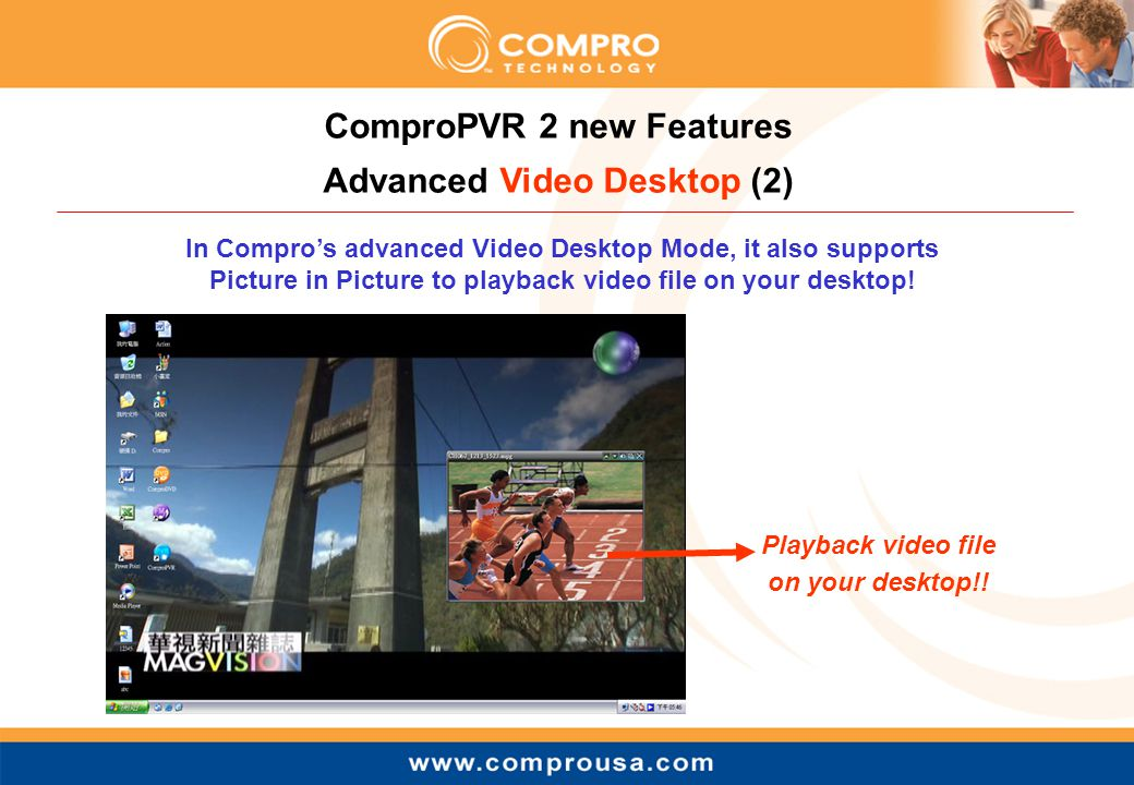In Compro's advanced Video Desktop Mode, it also supports Picture in Picture to playback video file on your desktop.