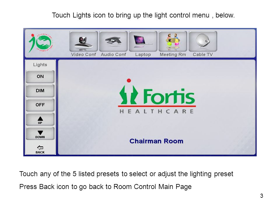 4 Touch Blinds icon to bring up the Blinds control menu, below.