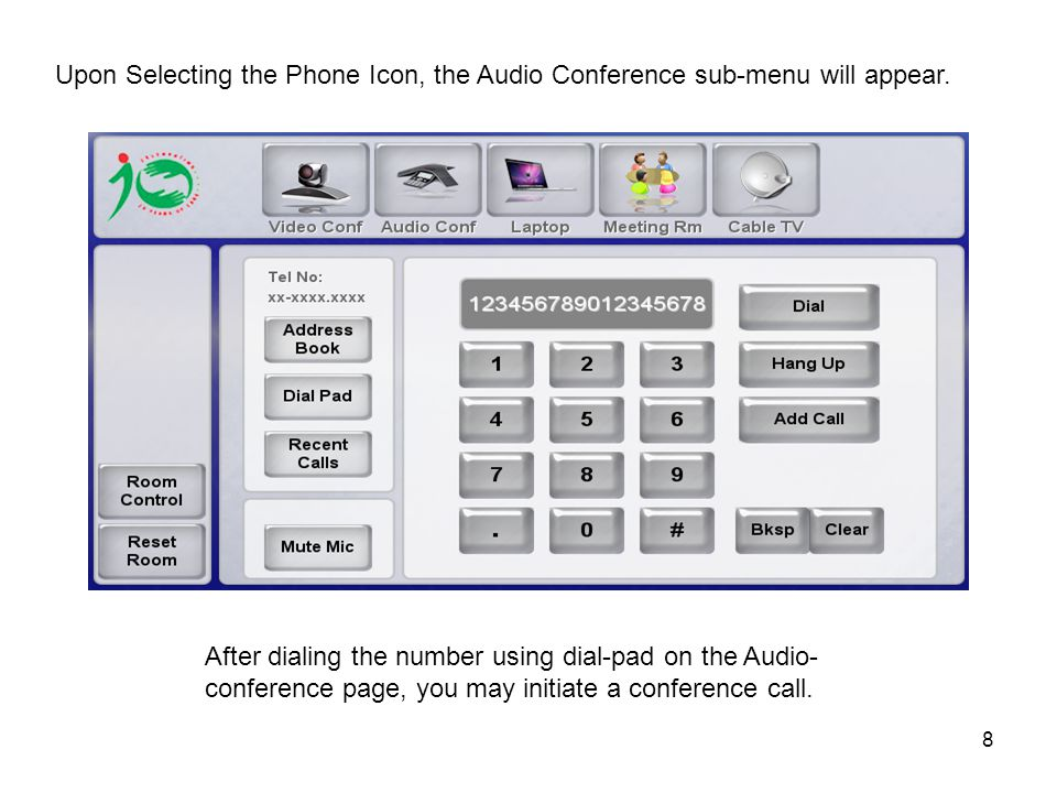 9 Sub-menu for Audio Call Press the Answer or Reject icons to Accept or Reject the incoming Call