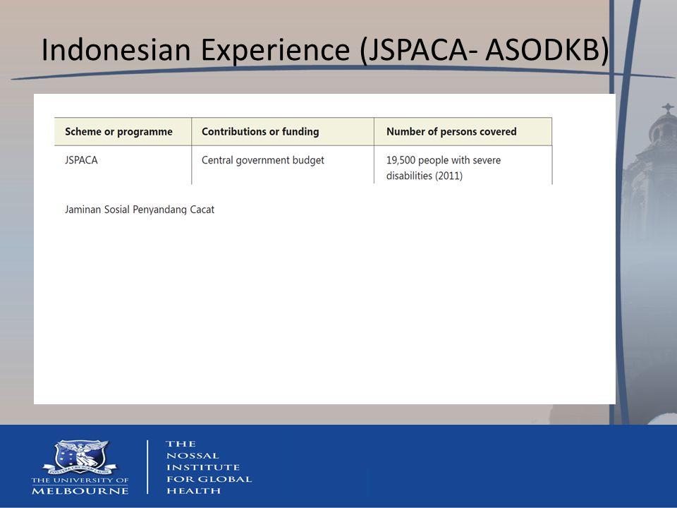 Indonesian Experience (JSPACA- ASODKB)