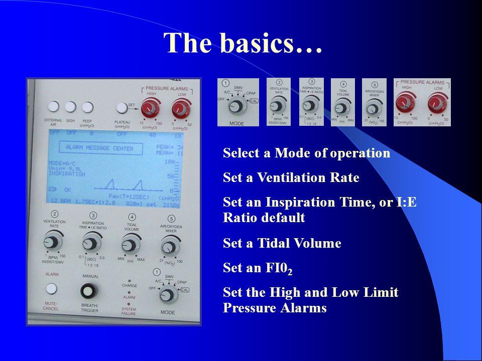 The basics… Select a Mode of operation Set a Ventilation Rate Set an Inspiration Time, or I:E Ratio default Set a Tidal Volume Set an FI0 2 Set the Hi