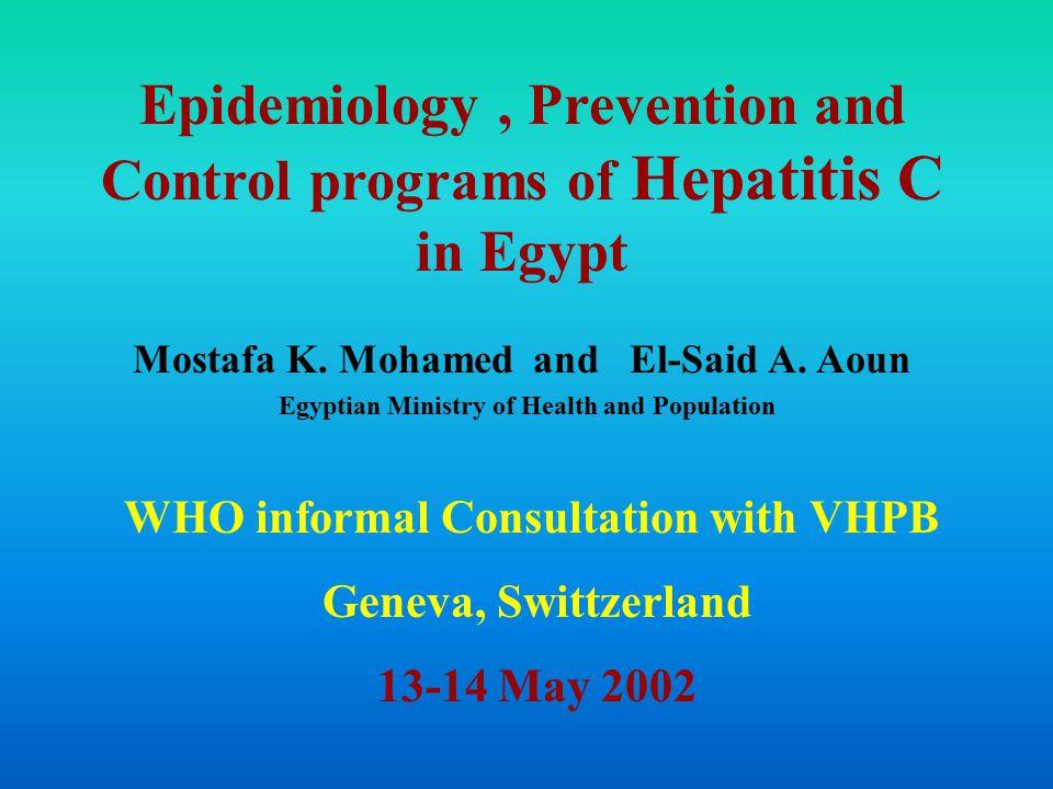 Epidemiology, Prevention and Control programs of Hepatitis C in Egypt Mostafa K.