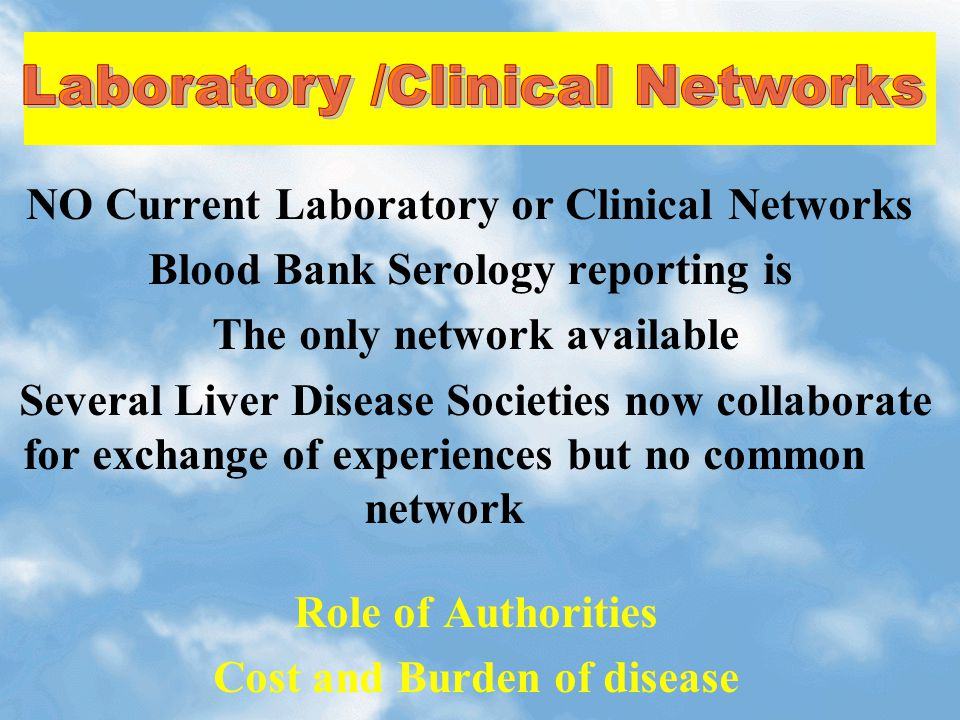 NO Current Laboratory or Clinical Networks Blood Bank Serology reporting is The only network available Several Liver Disease Societies now collaborate for exchange of experiences but no common network Role of Authorities Cost and Burden of disease