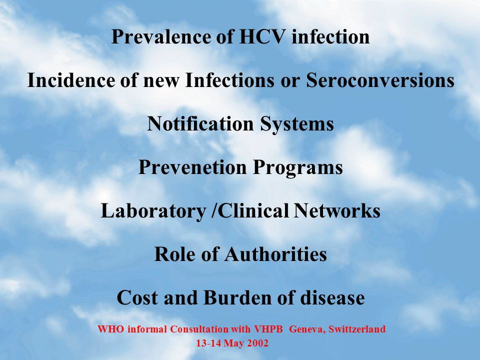 Prevalence of HCV infection Incidence of new Infections or Seroconversions Notification Systems Prevenetion Programs Laboratory /Clinical Networks Rol