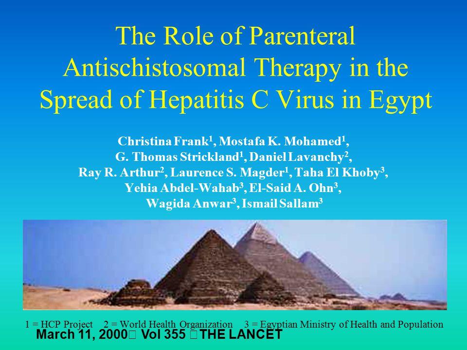 The Role of Parenteral Antischistosomal Therapy in the Spread of Hepatitis C Virus in Egypt Christina Frank 1, Mostafa K. Mohamed 1, G. Thomas Strickl