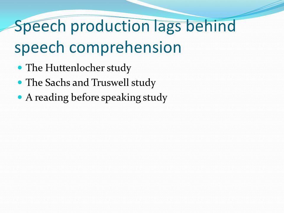 The relationship of speech production, speech comprehension, & thought Speech comprehension necessarily precedes speech production Thought as the basis of speech comprehension