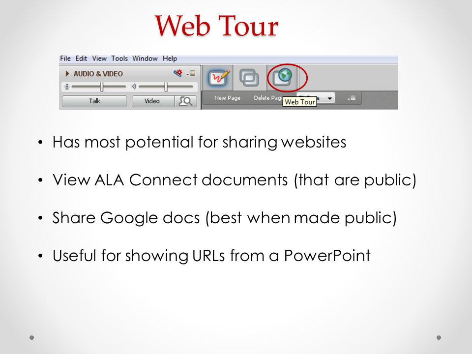 Web Tour Has most potential for sharing websites View ALA Connect documents (that are public) Share Google docs (best when made public) Useful for sho