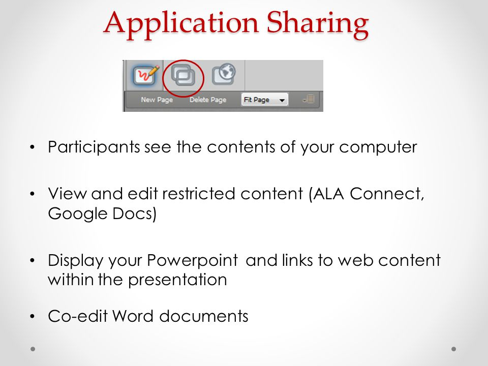 Application Sharing Participants see the contents of your computer View and edit restricted content (ALA Connect, Google Docs) Display your Powerpoint