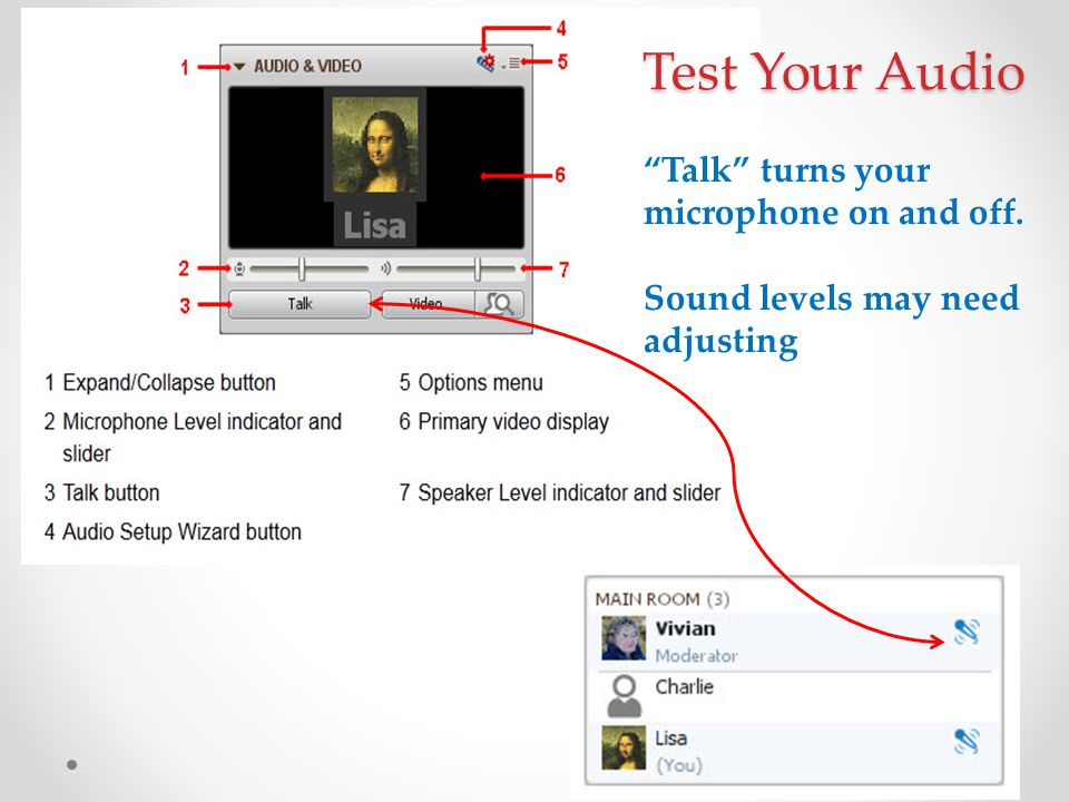 """""""Talk"""" turns your microphone on and off. Sound levels may need adjusting Test Your Audio"""