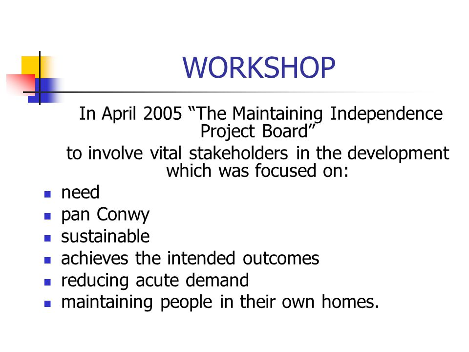 "WORKSHOP In April 2005 ""The Maintaining Independence Project Board"" to involve vital stakeholders in the development which was focused on: need pan Co"