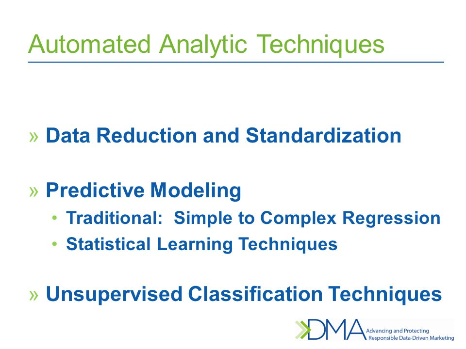 Automated Analytic Techniques »Data Reduction and Standardization »Predictive Modeling Traditional: Simple to Complex Regression Statistical Learning Techniques »Unsupervised Classification Techniques