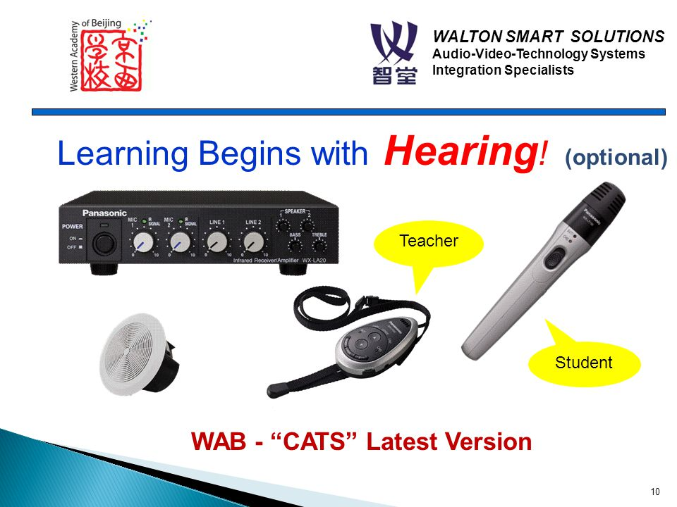 WALTON SMART SOLUTIONS Audio-Video-Technology Systems Integration Specialists WAB - CATS Latest Version Learning Begins with Hearing .