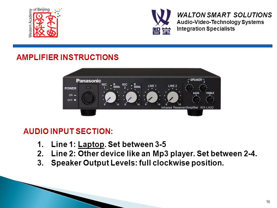 WALTON SMART SOLUTIONS Audio-Video-Technology Systems Integration Specialists AMPLIFIER INSTRUCTIONS AUDIO INPUT SECTION: 1.Line 1: Laptop.