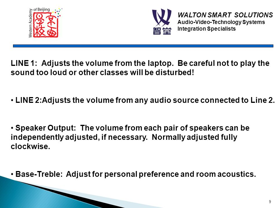 WALTON SMART SOLUTIONS Audio-Video-Technology Systems Integration Specialists 9 LINE 1: Adjusts the volume from the laptop.