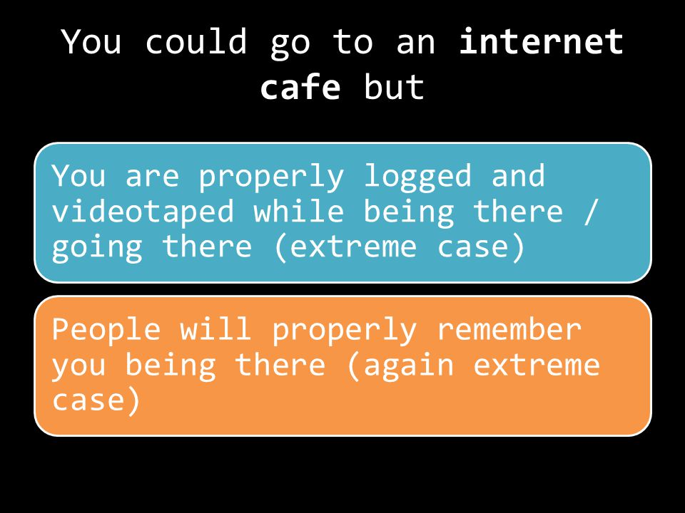 You could go to an internet cafe but You are properly logged and videotaped while being there / going there (extreme case) People will properly remember you being there (again extreme case)