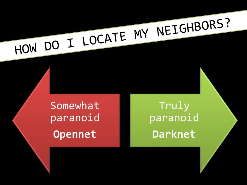 HOW DO I LOCATE MY NEIGHBORS? Somewhat paranoid Opennet Truly paranoid Darknet